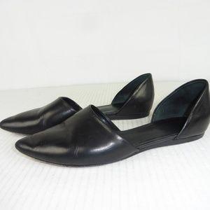 Vince Nina D'Orsay  sz 8 M Black Leather Flats